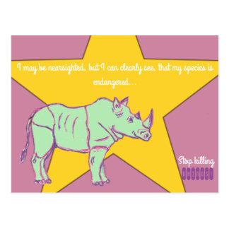 Stop killing Rhinos! Postcard