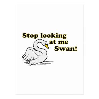 Stop looking at me swan postcard