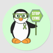 Stop Lyme Penguin with Sign Classic Round Sticker