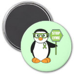 Stop Lyme Penguin with Sign Refrigerator Magnets