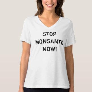STOP MONSANTO NOW WOMENS V NECK TEE SHIRT