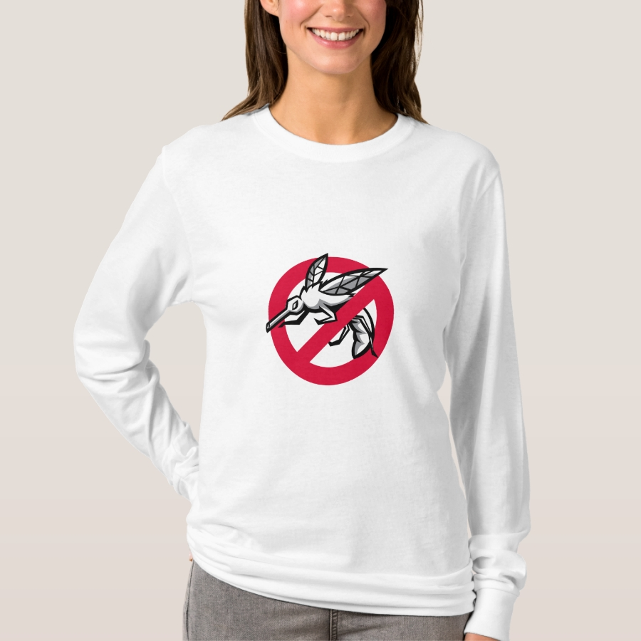 Stop Mosquito Sign Mascot T-Shirt - Best Selling Long-Sleeve Street Fashion Shirt Designs