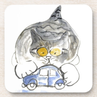 Stop Moving, says kitten to the blue toy car Beverage Coasters