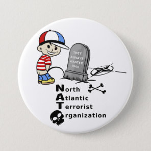 Stop NATO War Machine Funny Drawing Button