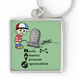 Stop NATO War Machine Funny Drawing Keychain