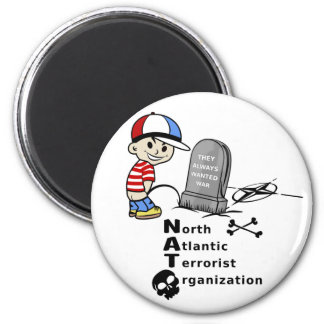 Stop NATO War Machine Funny Drawing Magnet