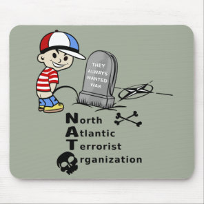 Stop NATO War Machine Funny Drawing Mouse Pad