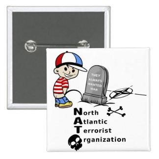 Stop NATO War Machine Funny Drawing Pinback Button