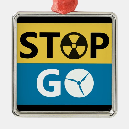 Stop Nuclear Metal Ornament