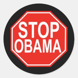 Stop Obama Classic Round Sticker