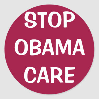 STOP OBAMACARE CLASSIC ROUND STICKER