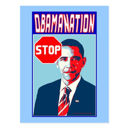 Stop Obamanation Pop Art Political Satire Product Postcard