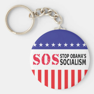 Stop Obama's Socialism - SOS Basic Round Button Keychain