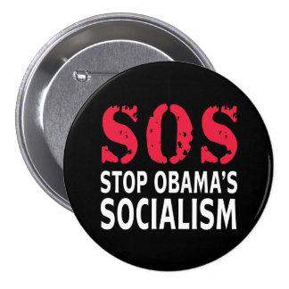 Stop Obama's Socialism - SOS Pinback Button