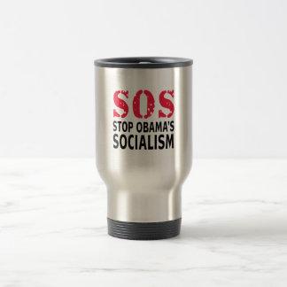 Stop Obama's Socialism - SOS 15 Oz Stainless Steel Travel Mug