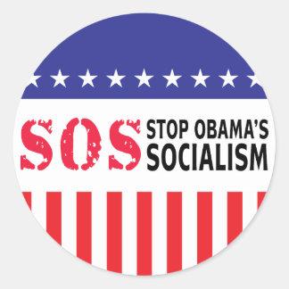Stop Obama's Socialism - SOS Classic Round Sticker