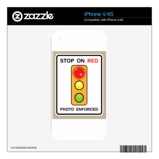 Stop on red Photo enforced Sign Skins For The iPhone 4
