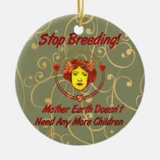 Stop Overpopulation Double-Sided Ceramic Round Christmas Ornament