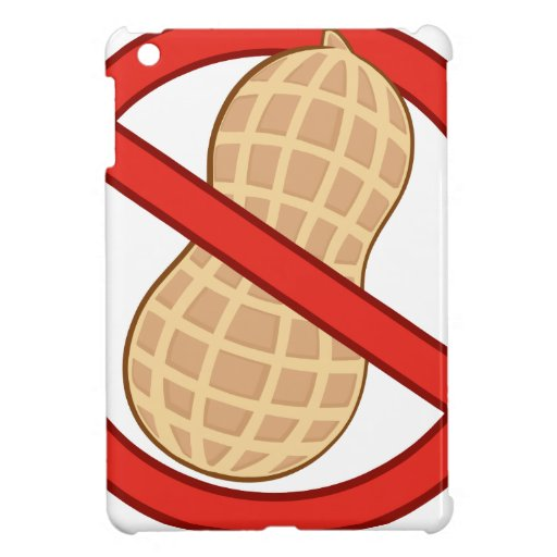 STOP PEANUTS ALLERGIC CARTOON WARNING SIGN GRAPHIC iPad MINI CASES