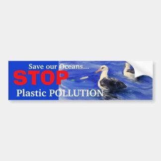 STOP Plastic Pollution Bumper Sticker Car Bumper Sticker