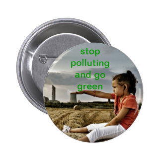 stop pollution pinback button