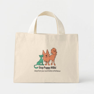stop puppy mill logo mini tote bag