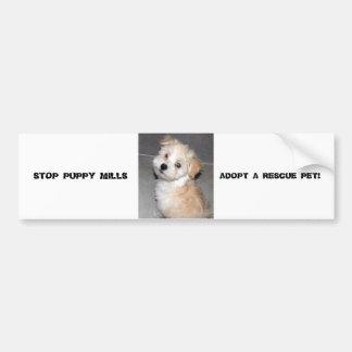 STOP PUPPY MILLS - ADOPT A RESCUE PET CAR BUMPER STICKER