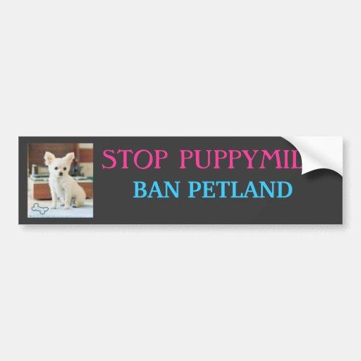 STOP PUPPYMILLS, BAN PETLAND BUMPER STICKERS