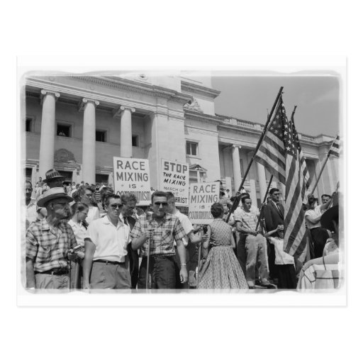 Stop Race Mixing Civil Rights Movement Protest Postcard