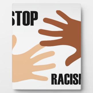 Stop racism plaque