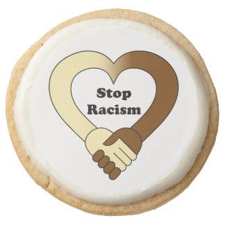 Stop racism round shortbread cookie