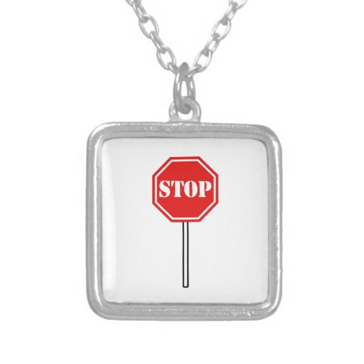 STOP RED WHITE WARNING SIGN HEXAGON SHAPE GRAPHIC NECKLACES