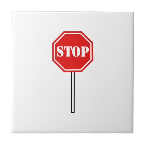 STOP RED WHITE WARNING SIGN HEXAGON SHAPE GRAPHIC SMALL SQUARE TILE