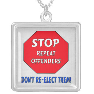 Stop Repeat Offenders Square Pendant Necklace