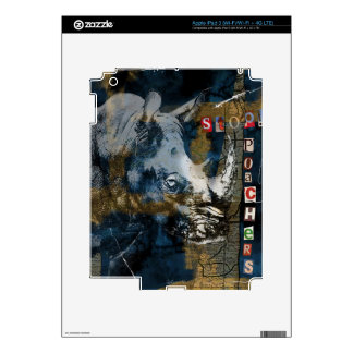 Stop Rhino Poachers Wildlife Conservation Art Decals For iPad 3