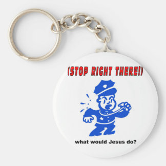 Stop Right There, what would Jesus do? Gift Keychain