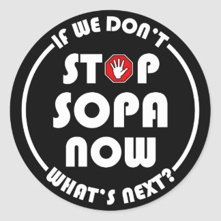 Stop S.O.P.A. Now Classic Round Sticker