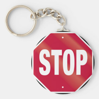 Stop Sign Basic Round Button Keychain