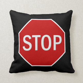 Stop sign cartoon throw pillow