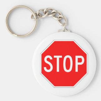 Stop Sign Customizable Basic Round Button Keychain