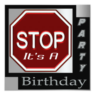 Stop Sign Customized Birthday Party Invitations