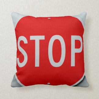 Stop Sign Grey Red and White Throw Pillow