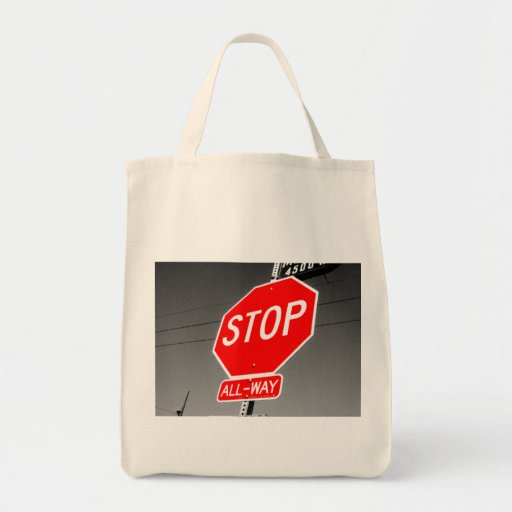 Stop Sign Grocery Tote Bag