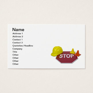 Stop Sign Hard Hat Business Card