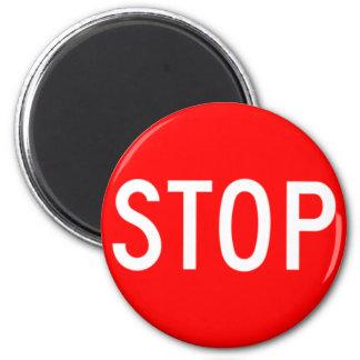Stop Sign - Highway Hexagon 2 Inch Round Magnet