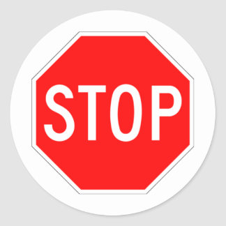 Stop Sign - Highway Hexagon Classic Round Sticker