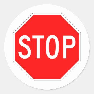 Stop Sign - Highway Hexagon Round Sticker