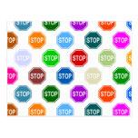 Stop Sign Multi Color Pattern Design Post Cards