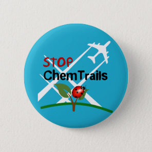 Stop Sign Plane Aerosol Trails LadyBug Button