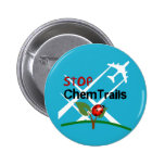 Stop Sign Plane Aerosol Trails LadyBug Button